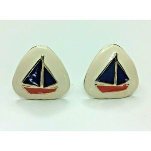 Vintage Enamel Sailboat Clip On Earrings Gold Tone